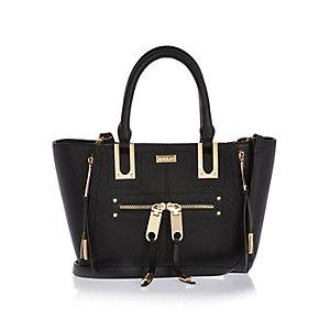 Black mini zip winged tote handbag