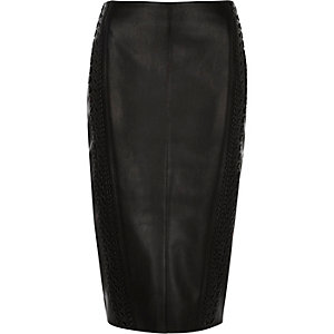Black whipstitch leather-look pencil skirt