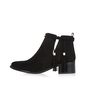 Black tassel cut-out ankle boots