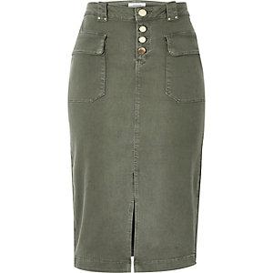 Khaki denim pencil skirt