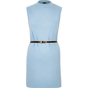 Light blue belted sleeveless tunic