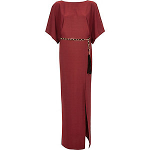 Red cowl back chain belt maxi dress