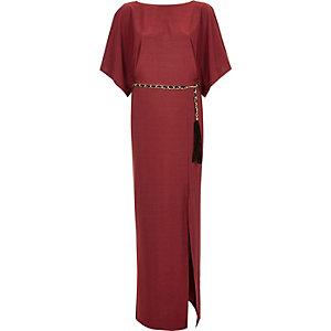 Red cowl back chain belt maxi dress