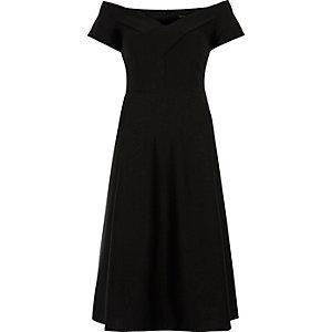 Black bardot waisted midi dress