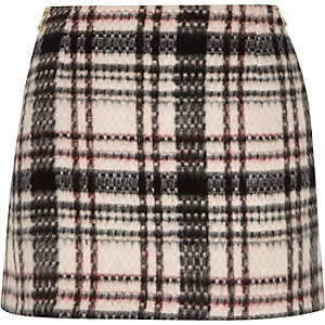 Pink checked mini skirt