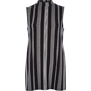 Blue stripe jacquard sleeveless tunic