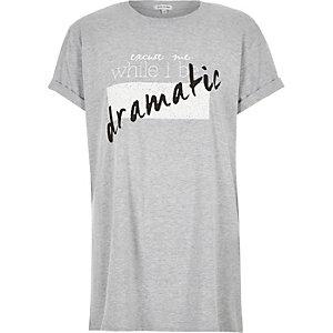 Grey textured slogan print oversized t-shirt