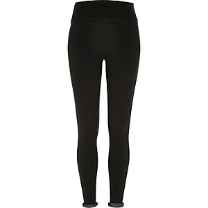 Washed black denim high waisted leggings