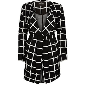 Black check jersey belted jacket