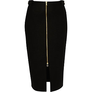 Black smart jersey zip-up pencil skirt