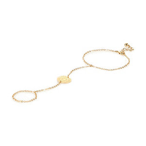 Gold tone filigree hand harness