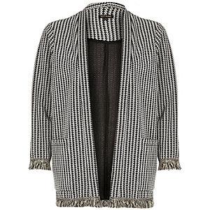 Black jacquard fringed trim jacket