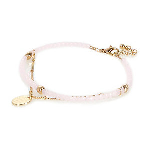 Pink beaded anklet