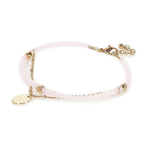 Bracelet de cheville à perles roses