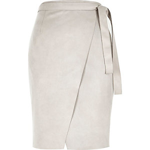 Light grey faux-suede wrap skirt