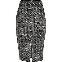 Black pattern pencil skirt