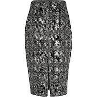 Black pattern pencil skirt