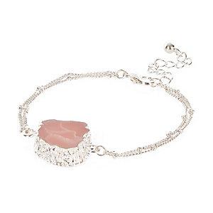 Silver tone large gem bracelet
