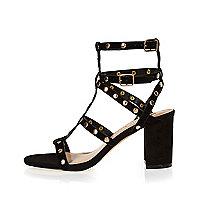 Black suede studded caged sandals