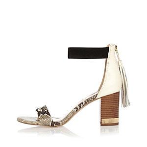 Beige print mid heel tassel sandals