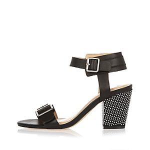 Black leather studded mid heel sandals