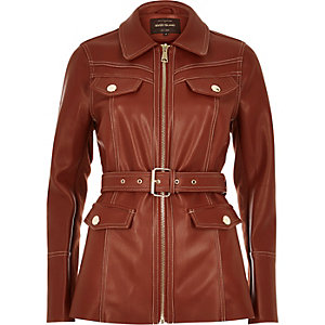 Rust brown leather-look trench jacket