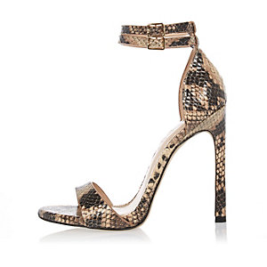 Beige snake print barely there heeled sandals