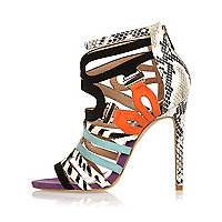 Black color block strappy stiletto heels