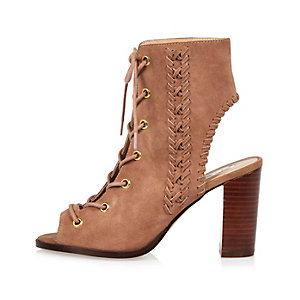 Dusky pink suede lace-up heeled shoe boots