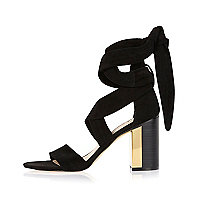 Black suede wrap mid heel sandals