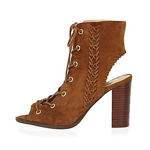 Tan suede lace-up heeled shoe boots