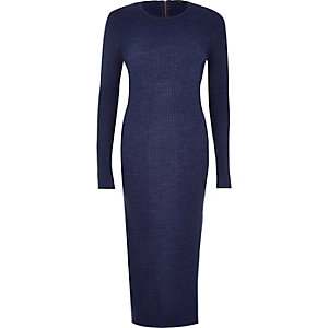 Navy knitted long sleeve midi dress