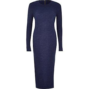 Navy knitted long sleeve midi dress