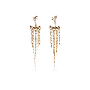 Gold tone dangly front and back earrings