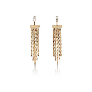 Gold tone slinky front and back earrings