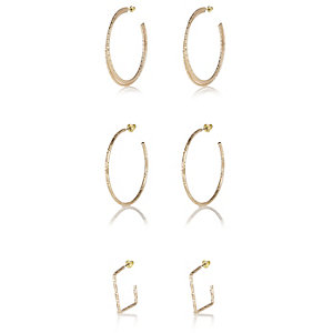 Gold tone mixed shape hoop earrings pack