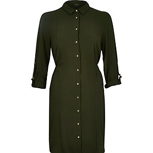 Khaki crepe shirt dress