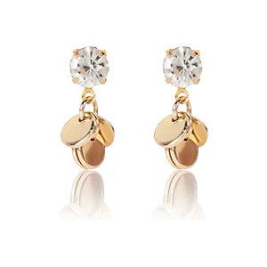 Gold tone embellished dangle earrings