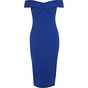 Bright blue bardot bodycon midi dress