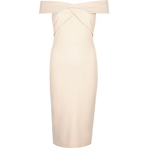 Nude pink bardot bodycon pencil dress