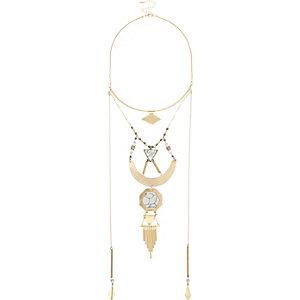 Gold tone drop necklace