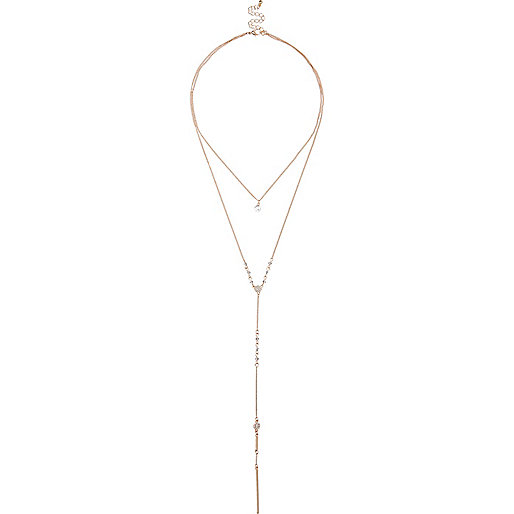 Gold tone pave long necklace