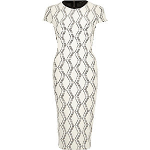Cream jacquard bodycon midi dress