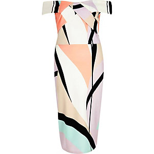 Coral pink abstract print bardot midi dress