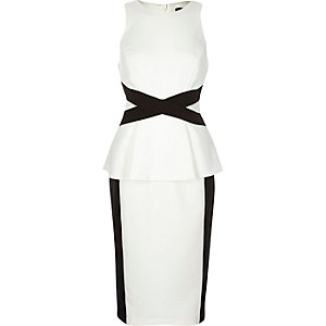 White cross waist bodycon dress