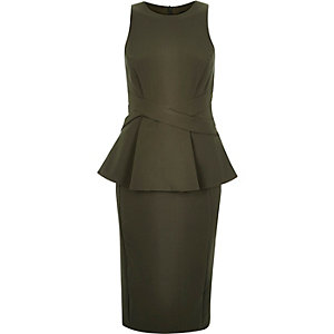 Khaki peplum cross waist bodycon dress