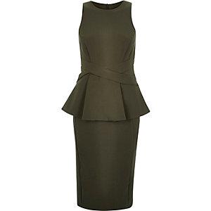 Khaki peplum cross waist bodycon dress