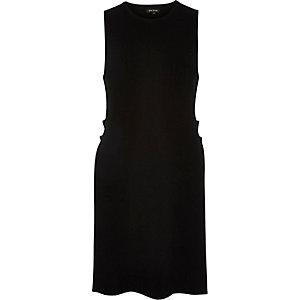 Black knitted split sleeveless tabard top