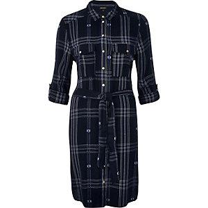 Blue check shirt dress