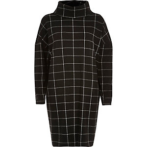 Black check cowl neck ovoid dress